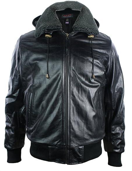 Mens Black Removable Hood Real Leather Bomber Jacket Fleece Fur ...