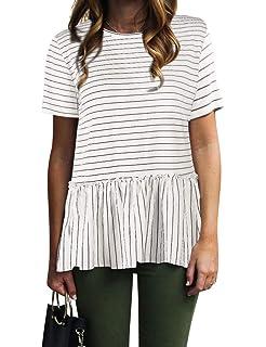 23c8b88922 Nlife Women Casual Stripe Blouse Short Sleeve Shirt Tops Tunic Shirt Peplum  Shirt