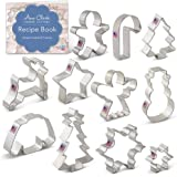 Ann Clark Cookie Cutters Winter Christmas Cookie Cutter Set with Recipe Book - 11 Piece - Snowflake, Sweater, Snowman, Gingerbread Boy, Snow Tree, Angel, Star, Christmas Tree, Snowflake