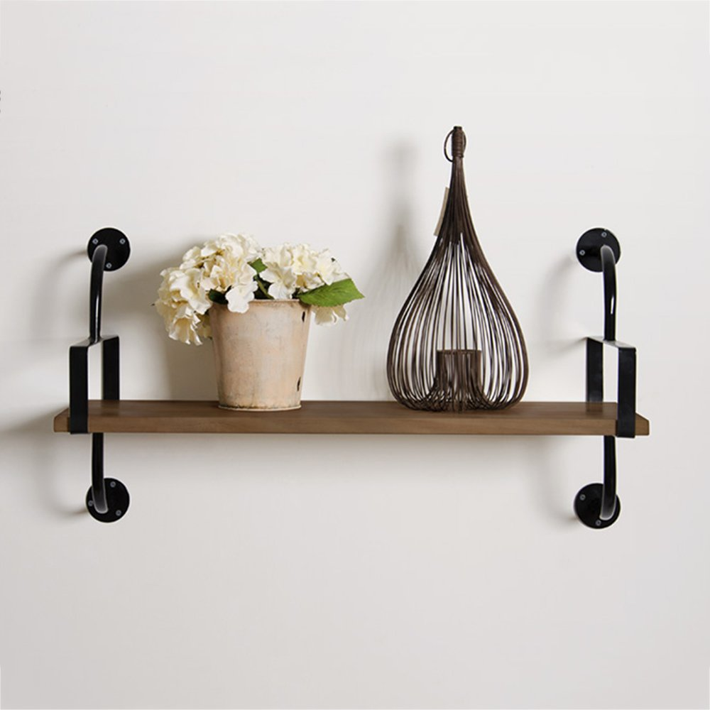 ZR- Wrought Iron Wall Bookshelf  Bedroom Shelf  Solid Wood Panel Wall Mount  Shelf  Living Wall Wall Word Frame  Simple Partition Shelf (Color : 1-layer, Size : 60cm)