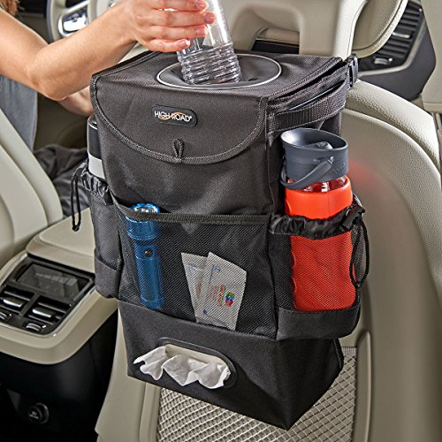 High Road StashAway Car Seat Back Organizer with Trash Can, Tissue and Cup Holders