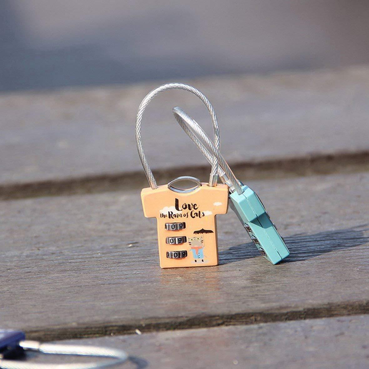 Mini cerradura Novedad Candado Cerradura de seguridad Cerradura de dibujos animados de animales lindos con llaves para mochilas y taquillas Puertas y maleta de Windows Colorido