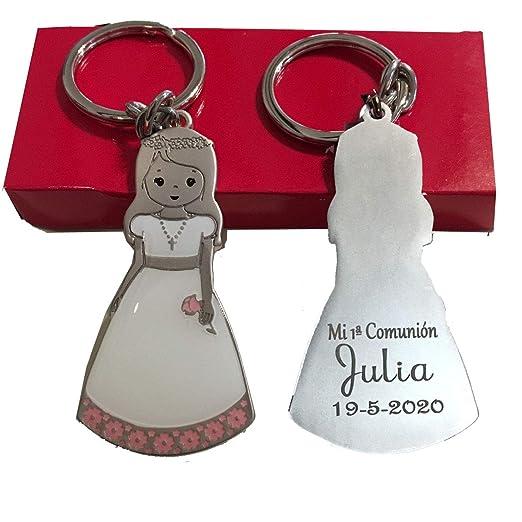 Lote 6 llaveros de niña comunión metálico con traje esmaltado para detalles. Grabado por la parte trasera con evento nombre y fecha