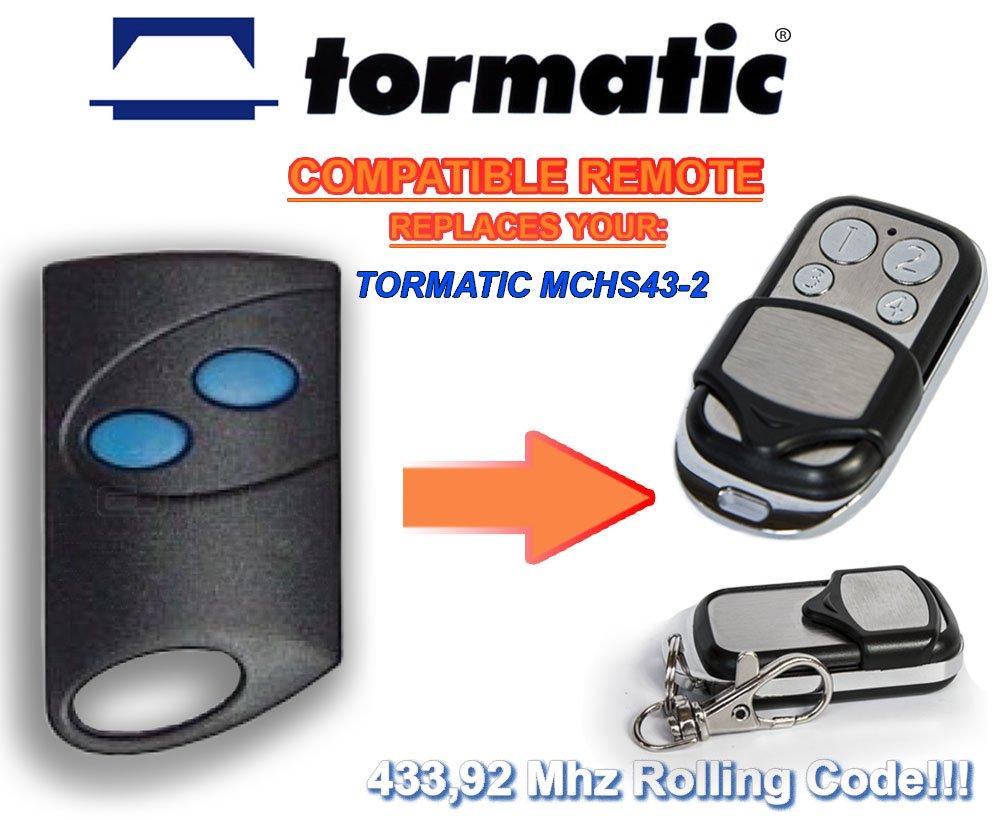 TORMATIC MCHS43–2compatible mando a distancia, transmisor de reemplazo, 433,92mhz rolling code keyfob