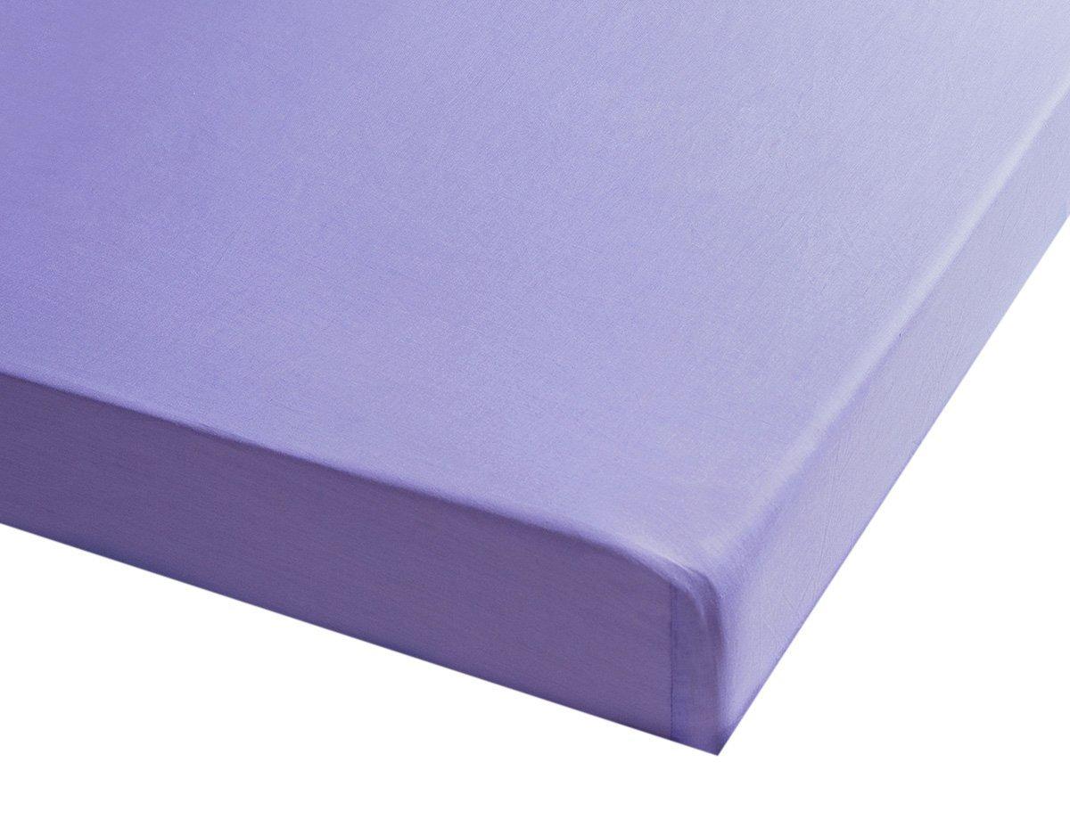 Sancarlos - Sábana bajera , 100% Algodón percal, Color lila, Cama de 105