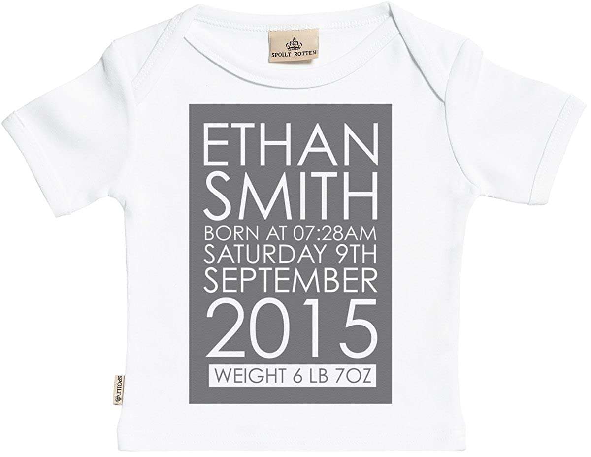SR Personalised Name Date and Time Baby T-Shirt