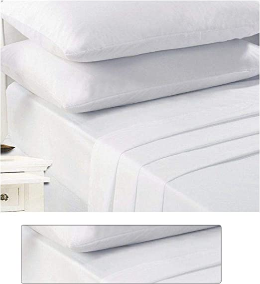 Flat Sheets,Pillow Cases All Size White Polycotton Plain Dyed Fitted Sheets