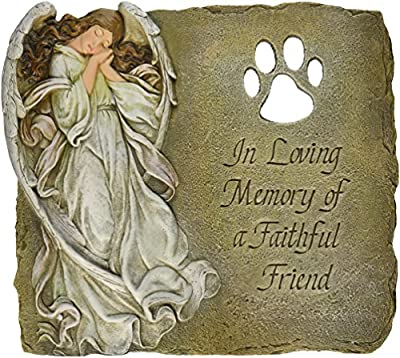 Pet Memorial Garden Stone/Plaque with Verse in Loving Memory of a Faithful Friend, 9-Inch by Roman, Inc. - LG