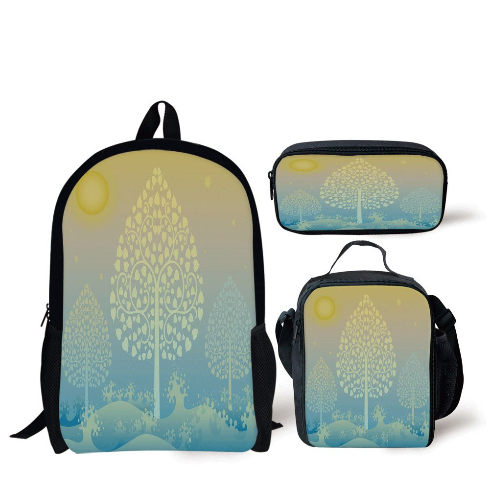 School Lunch Pen Bags,Art,Thai Pattern Design Illustration of Gold Tree Oriental Culture Asia Eastern Ways Decorative,Gold Sky Blue,Personalized Print