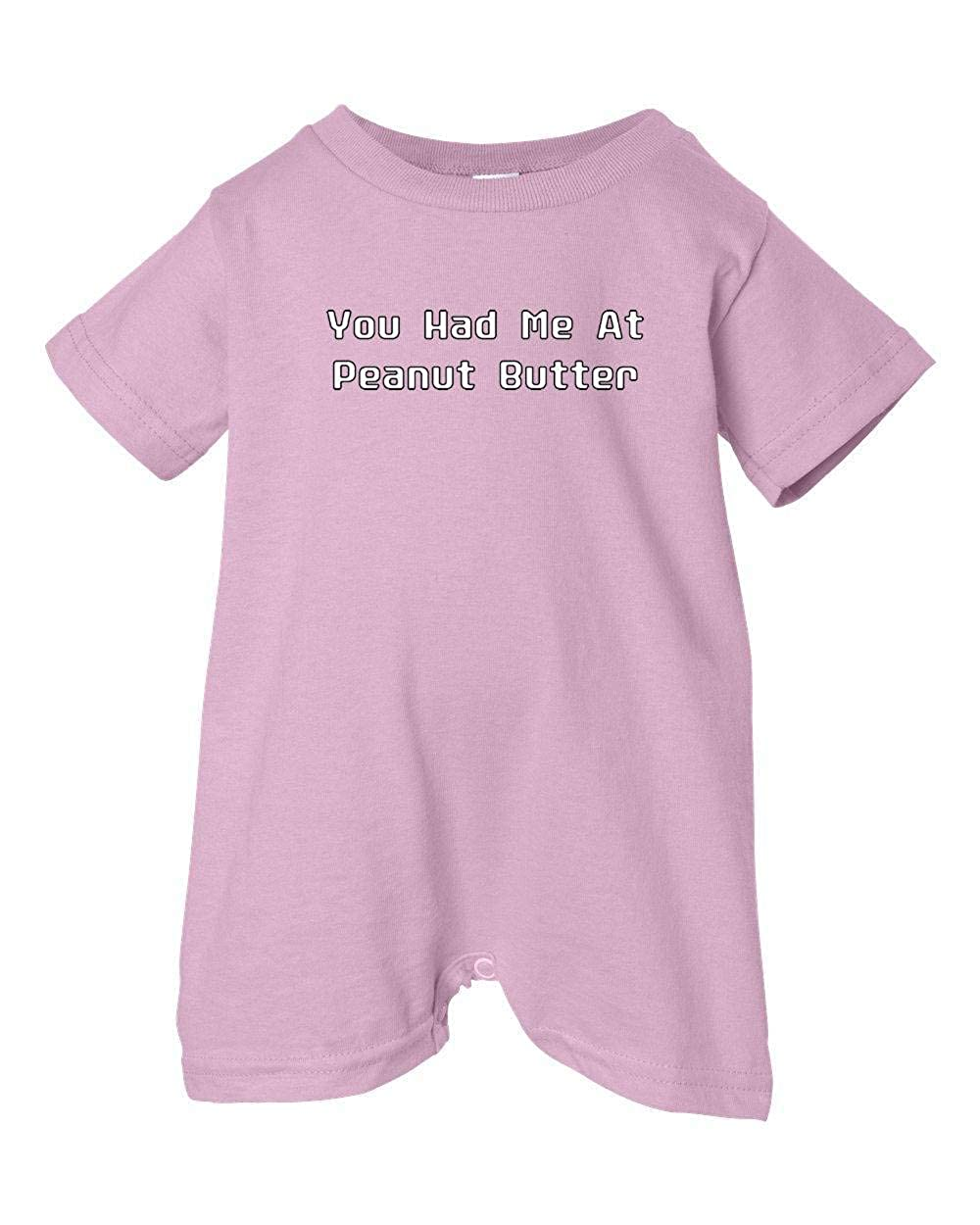 Tasty Threads Unisex Baby You Had Me At Peanut Butter T-Shirt Romper Pink, 18 Months