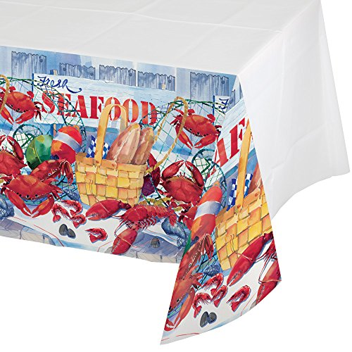 Creative Converting 722325 Border Print Plastic Tablecover, 54 x 102