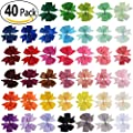 40Pcs Grosgrain Ribbon Pinwheel Boutique Hair Bows Clips For Girls