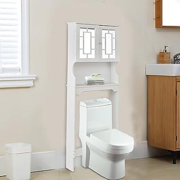 COSTWAY Bathroom Over Toilet Cabinet Space Saver Freestanding Tall Storage  Organizer White