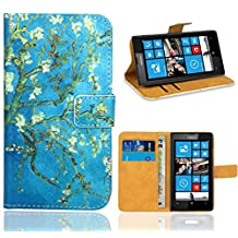 Nokia Lumia 520 Case, FoneExpert® Premium Leather Flip Wallet Bag Case Cover For Nokia Lumia 520