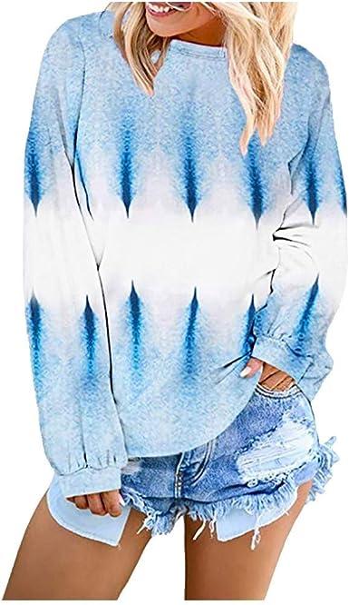 Luckycat Mujer Camisetas Manga Larga Gradiente Color Camisas Casual Cuello Redondo Tops Camisetas Transpirable Señoras Camiseta Jerséis Blusa Ropa Deportiva Sudaderas Ropa De Mujer T-Shirt Otoño: Amazon.es: Ropa y accesorios