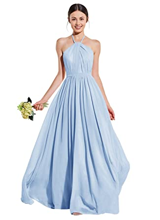 3c2b9093228 Women s Halter Open Back Ruched A Line Formal Ball Gown Long Chiffon  Bridesmaid Dresses Bady Blue