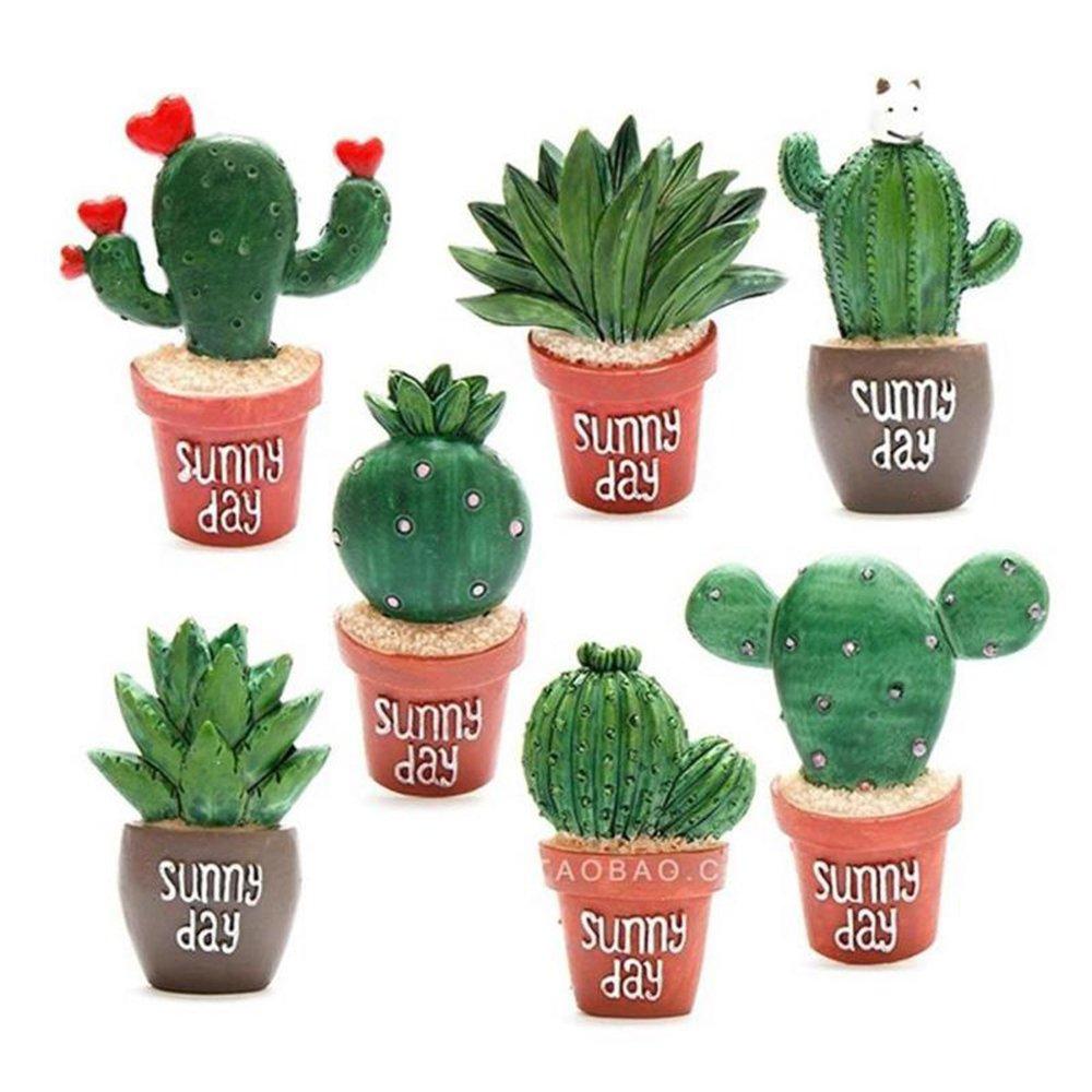 AHHYH Kreative Kaktus-Pflanzen-Magnet, 7 Muster, niedliche Pflanzen-Dekoration, Kü hlschrank-Souvenir-Magnete, Aloe