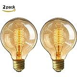 KINGSO 2 Pack E27 Edison Lampadine a Incandescenza G80 40W 220V Globe Filamento Lampada Vintage Bianco Caldo Ideale per la Nostalgia e L'illuminazione Antica