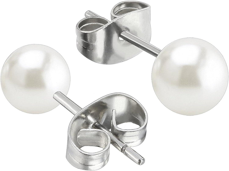 Stainless Steel Hypoallergenic Starter Set for Women Girls Jewelrieshop Faux Pearl Stud Earrings 5 Pairs