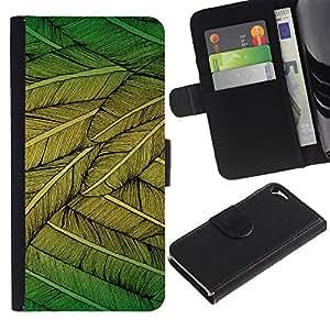 LASTONE PHONE CASE / Lujo Billetera de Cuero Caso del tirón Titular de la tarjeta Flip Carcasa Funda para Apple Iphone 5 / 5S / Feathers Green Nature Art Bird Flying Tree