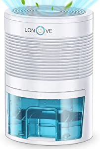 LONOVE Dehumidifier - 2000 Cubic Feet (185 Sq ft) Small Dehumidifiers for Home Bedroom Bathroom Basement Closet RV Camper, 800ml (27 oz) Full Auto-Off Portable Electric Mini Dehumidifier for Space