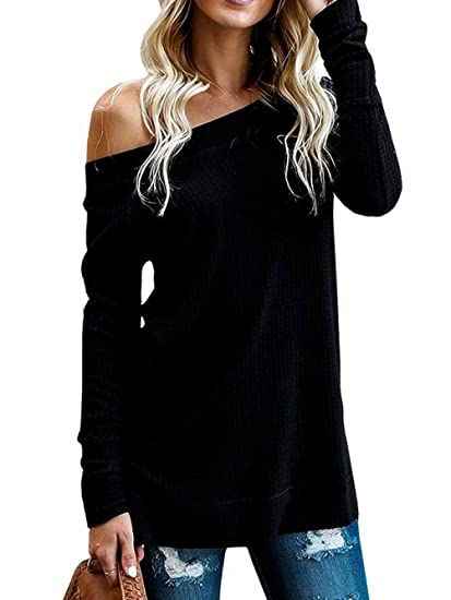 78dfb969c36f52 Kaei&Shi Side Silt One Shoulder, Off Shoulder Tops For Women, Knitted  Sweater, Slouchy Long Sweatshirt, Loose Pullover at Amazon Women's Clothing  store: