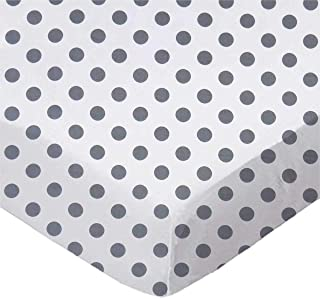 product image for SheetWorld Fitted 100% Cotton Percale Moses Basket Sheet 13 x 27, Grey Polka Dots, Made in USA