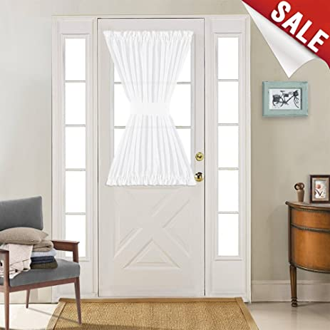 Superior Linen Textured French Door Panel Curtains Open Weave White Sheer French Door  Panels 40 Inch Length