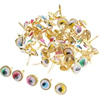 segolike 50/100pc Metal Heart Round Split Pins Brads Paper Fastener for Scrapbooking - as described, 10x10mm 50Pcs