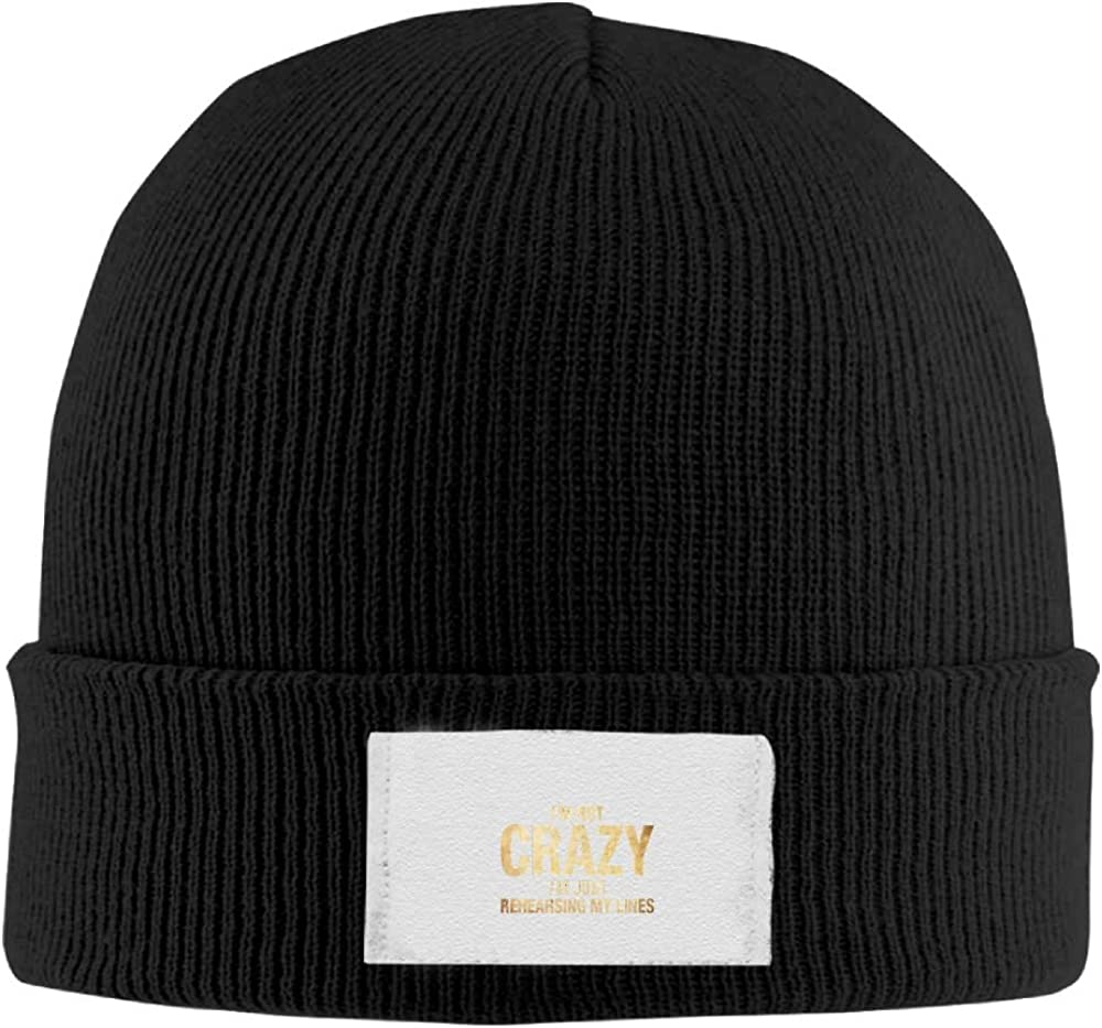 FYang Crazy Im Just REHEARSING My Lines New Winter Hats Knitted Twist Cap Thick Beanie Hat Black