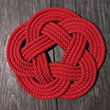 Nautical Sailor Knot Cotton Rope Trivet Red