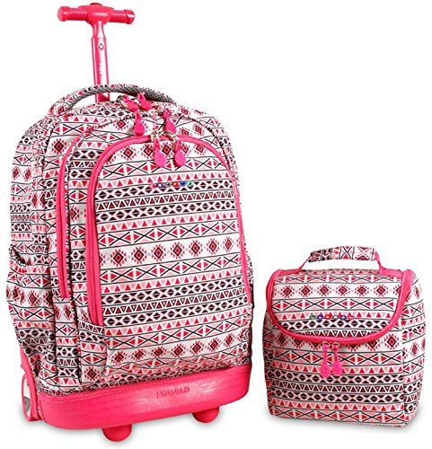 J World New York Setbeamer Rolling Backpack with Lunch Bag (Skandi Pink) by J World New York