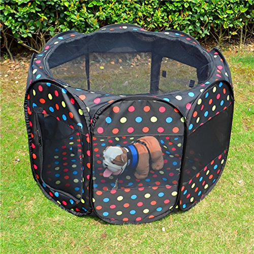 New Pet Tent Dog Crate-Black Background with Polka Dot Pet Tent Dog (290012)
