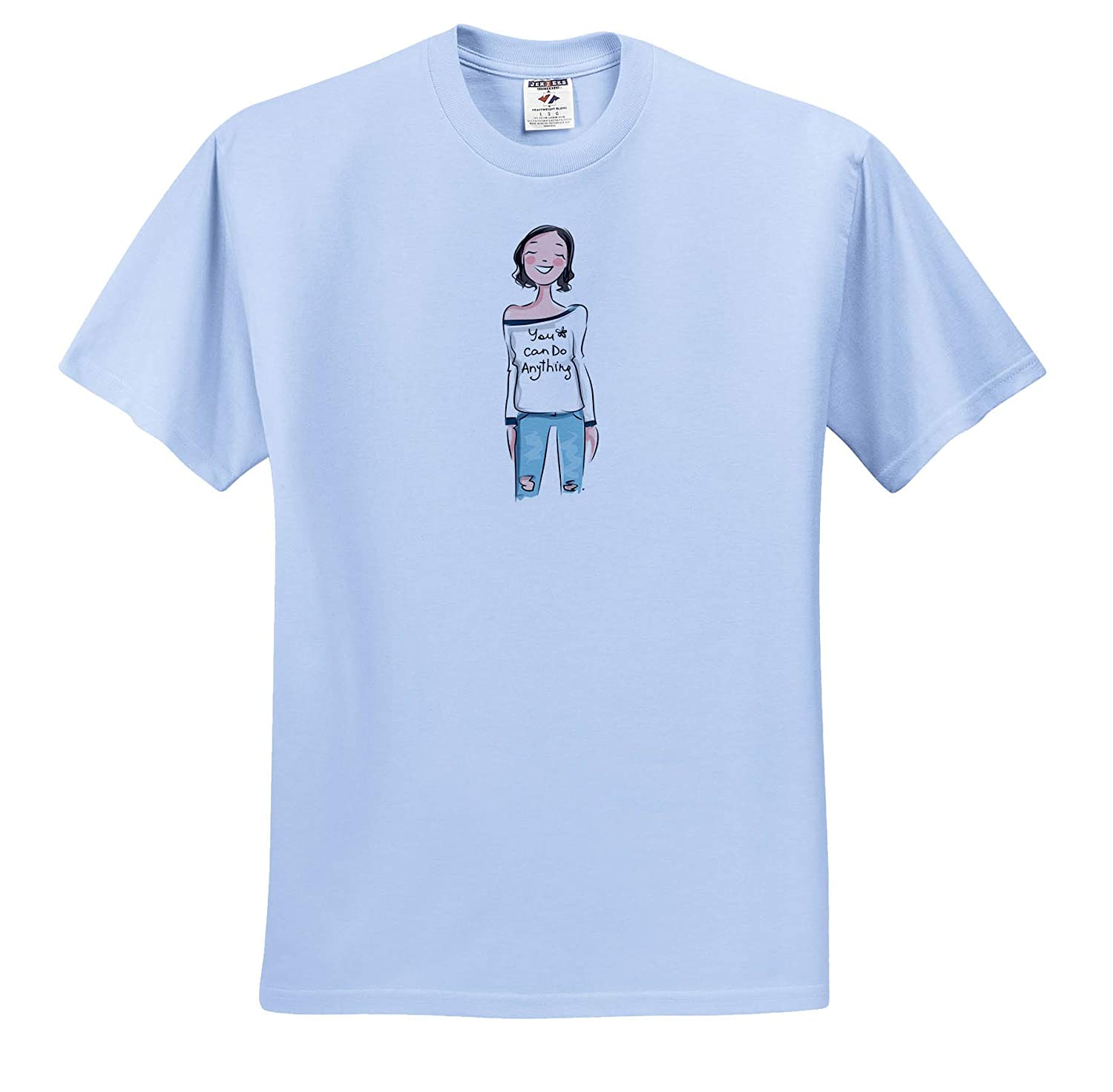 3dRose Lens Art by Florene Image of Girl with T Shirt Say You Can Do Anything Humor ts/_311389 Adult T-Shirt XL