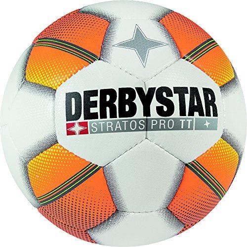 Derby Star Stratos Pro Adult TT Football–White/Orange/Yellow, 4