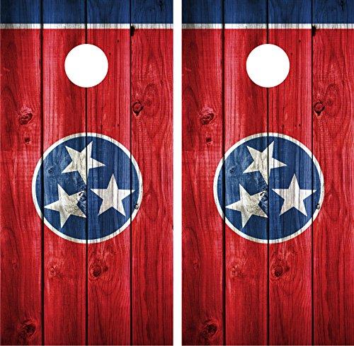テネシー州フラグアンティーク調木製ラミネートCornholeボードデカールラップラップ