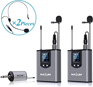 Wireless Lapel Microphone System - NASUM Dual Wireless Headset Lavalier Mic for iPhone, DSLR Camera, YouTube, Podcast, Conference, Vlog, Church, Interview, Teaching, PA Speaker, Video Recording