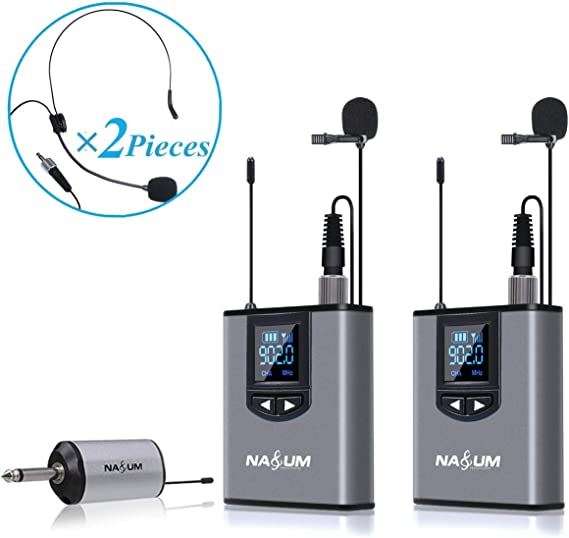 Wireless Lapel Microphone System - NASUM Dual Wireless Headset Lavalier Mic for iPhone