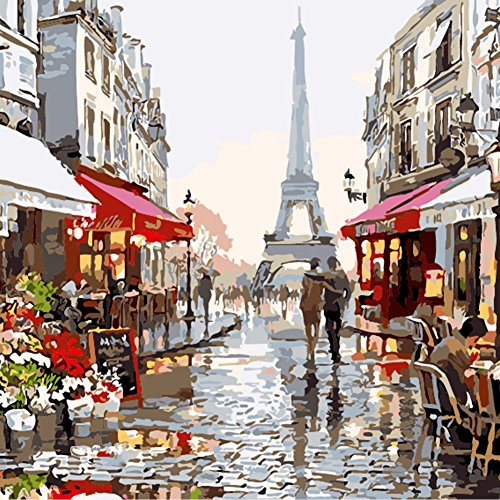 Adarl DIY Oil Painting Paint By Number Kit Image Drawing On Canvas By Hand Coloring Arts Crafts & Sewing NEW Paris Flower Street Street Framed Canvas