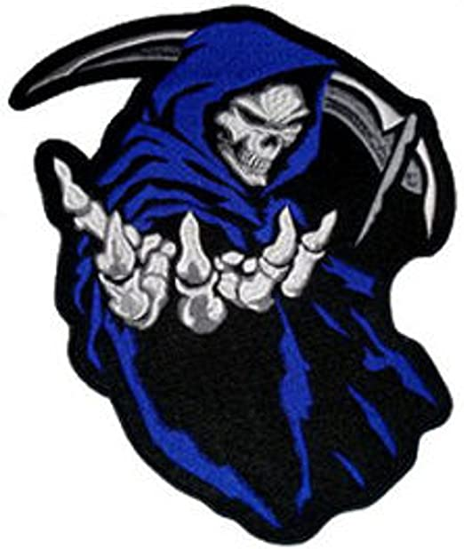 "Grim Reaper Embroidered Patch~4 1//2/"" x 4/""~Iron or Sew On~QUALITY~Free Shipping"