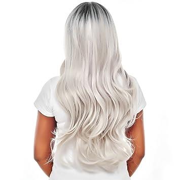 Productos para el cabello Negro a Rubio Oscuro Peluca Raíces, cuerpo largo de onda pelucas pelo sintéticos Ombre Pruik T1b/gris claro 26pollici: Amazon.es: ...