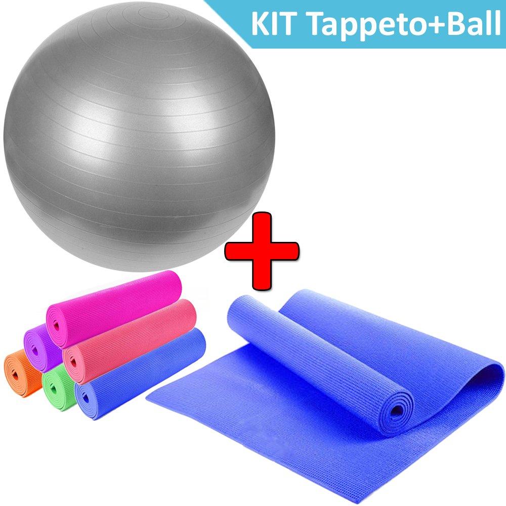 DP Design® Alfombrilla Yoga + Gymball grigia pelota para ...