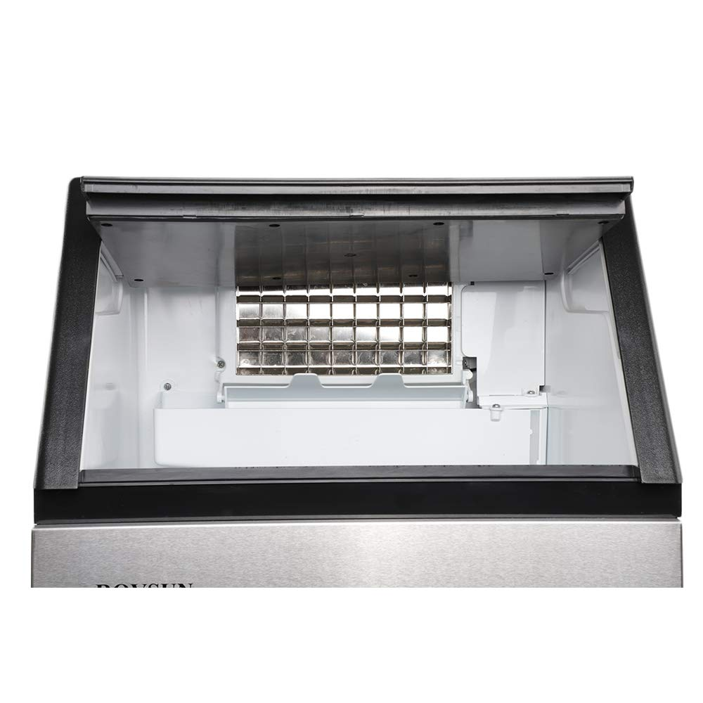 115V ROVSUN Commercial Ice Maker Automatic Built-In Stainless Steel Under counter // Freestanding // Portable Ice Machine for Restaurant Bar 33lbs Storage,100lbs//24h,5 Accessories 18Lx16Wx31H