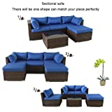 Patio Sofa 5-Piece Brown PE Rattan Couch Outdoor