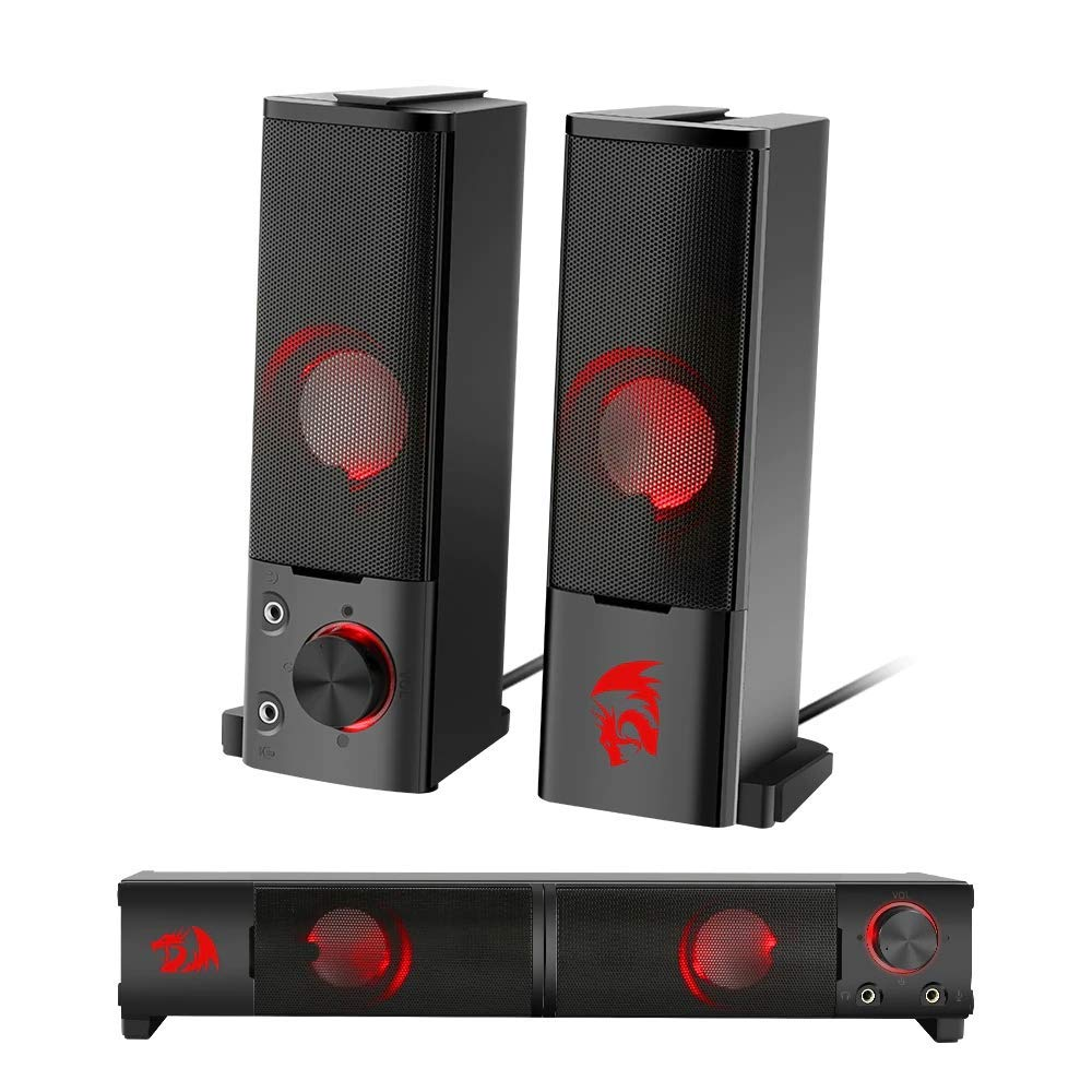 Amazon In Buy Redragon Orpheus Gs550 Stereo Gaming Speakers Sound Bar For Pc With Red Led Backlight And Volume Control Online At Low Prices In India Redragon Reviews Ratings