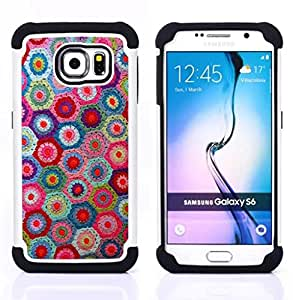 GIFT CHOICE / Defensor Cubierta de protección completa Flexible TPU Silicona + Duro PC Estuche protector Cáscara Funda Caso / Combo Case for Samsung Galaxy S6 SM-G920 // Knitting Handycraft Art Fabric Colorful Pattern //