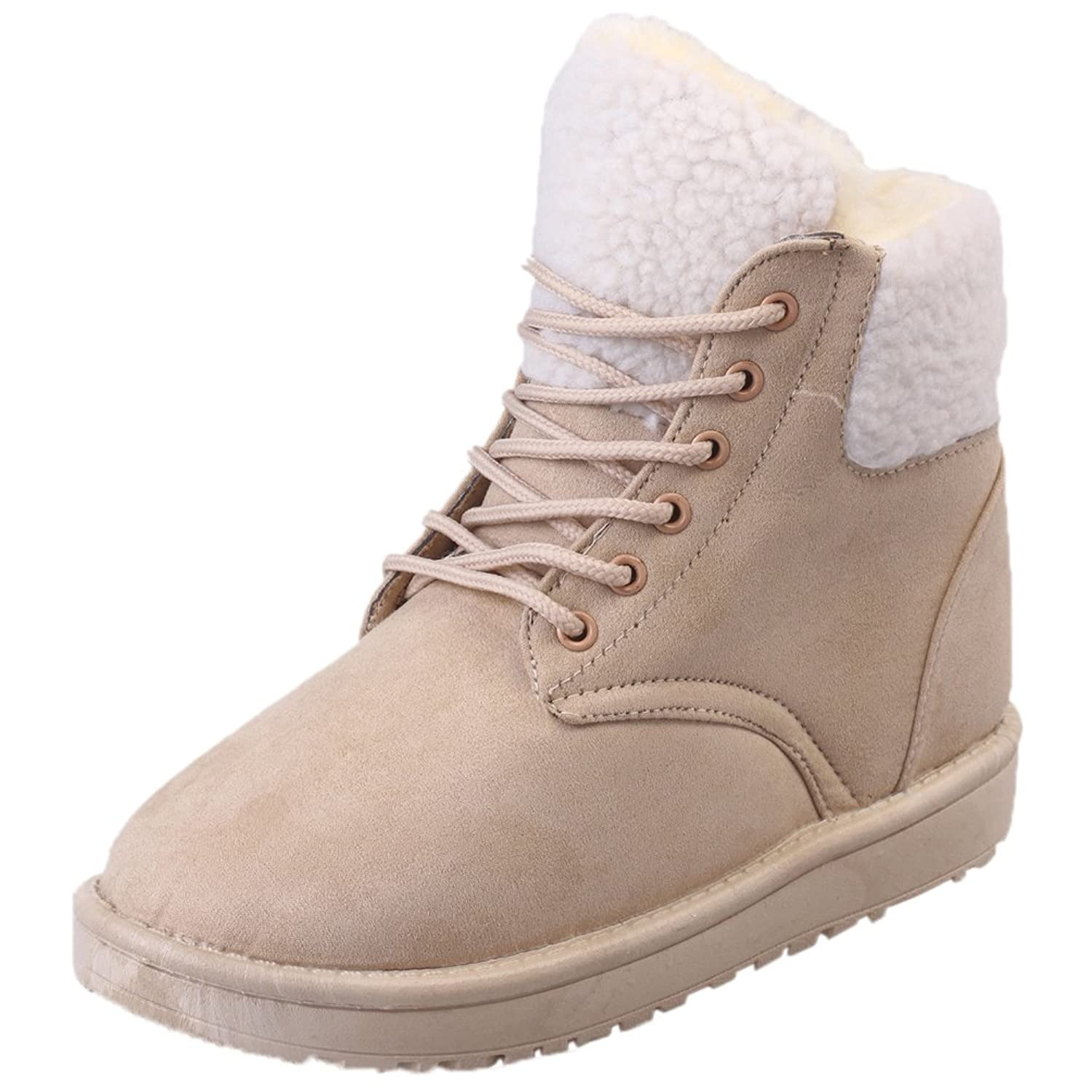 f6b2ca933bbfb best Women Snow Boots HooH Winter Warm White Fur Lace Up Non Slip Ankle  Boots