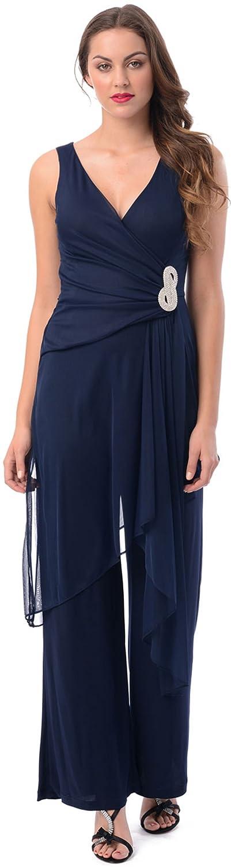 Formal Jumper Mesh V-Neck Bridesmaid Dress Pantsuit AEY