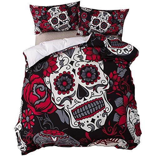feelyou Queen Duvet Cover Set Sugar Skull Bedding Set, Microfiber Polyester Gothic Comforter Cover Set Bedding Set Floral Printed Flowers Horror Skulls Quilt Cover with 2 Pillow Shams, Red Black