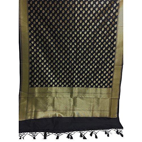 Black Gold Indian Pure Silk Brocade Paisley Designer Large Fabric Shawl Scarf